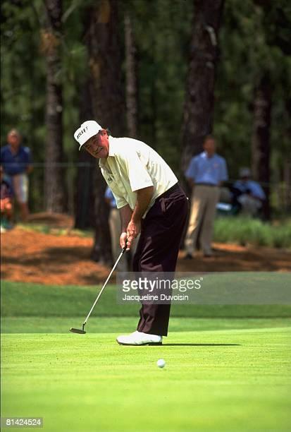 Golf US Senior Open Simon Hobday in action making putt on Sunday at Pinehurst Resort Pinehurst NC 6/30/1994