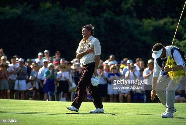 Golf: US Senior Open, Simon Hobday with caddie during Sunday play at Pinehurst Resort, Pinehurst, NC 6/30/1994