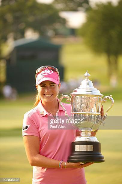Women's Open: Paula Creamer victorious with trophy after winning tournament on Sunday at Oakmont CC. Oakmont, PA 7/11/2010 CREDIT: Fred Vuich...