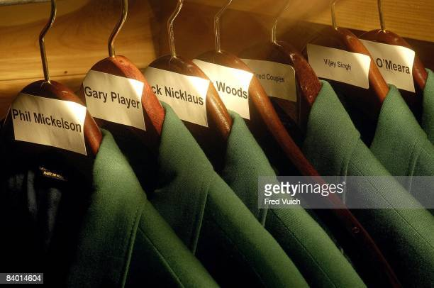 View of green blazers jackets of past Masters champions in clubhouse of Augusta National Augusta GA 2/21/2006 CREDIT Fred Vuich
