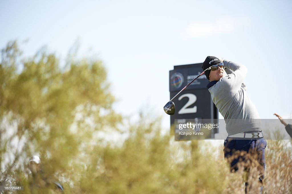 Hunter Mahan in action, drive from No 2 tee during Sunday play at Ritz-Carlton GC of Dove Mountain. Kohjiro Kinno F16 )