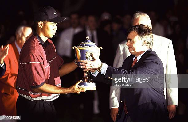WGC American Express Championship USA Tiger Woods victorious with trophy after tournament at Valderrama GCCadiz Spain 11/7/1999CREDIT Bob Martin