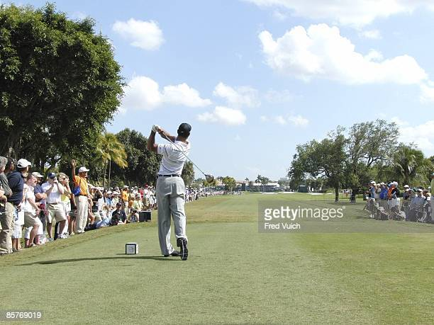 Championship: Rear view of Tiger Woods in action, drive from tee on Thursday at Blue Monster Course of Doral Resort & Spa. Sequence. Doral, FL...