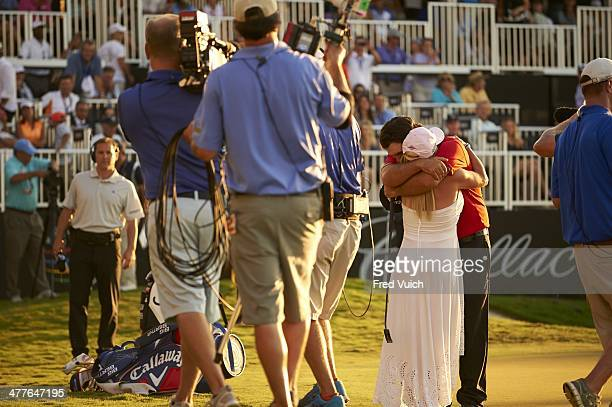 WGC Cadillac Championship Patrick Reed victorious hugging his wife Justine after winning tournament on Sunday at TPC Blue Monster Course of Trump...