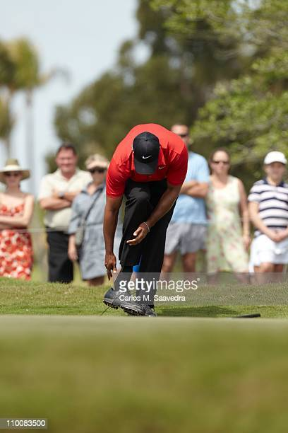 WGC Cadillac Championship Tiger Woods adjusting socks during Sunday play at TPC Blue Monster Course of Doral Resort SpaDoral FL 3/13/2011CREDIT...
