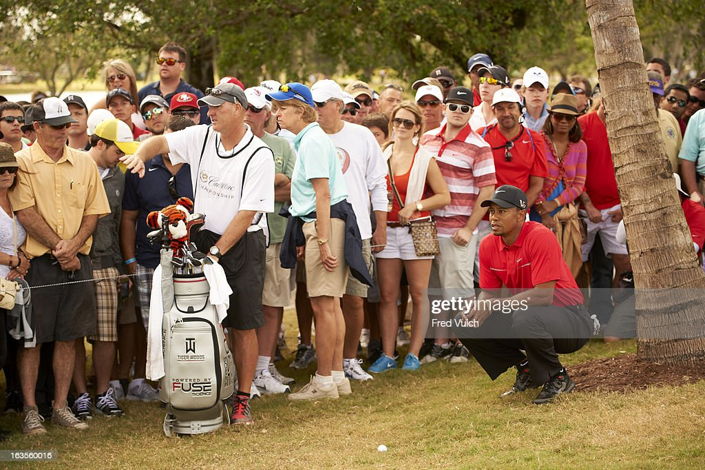 Tiger Woods and caddie Joe LaCava on No 6 hole during Sunday play at TPC Blue Monster Course of Doral Resort & Spa. Fred Vuich F2 )