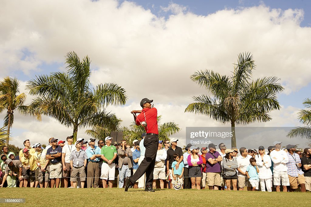 Tiger Woods in action, drive from No 8 tee during Sunday play at TPC Blue Monster Course of Doral Resort & Spa. Fred Vuich F41 )