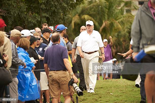 WGC Cadillac Championship View of course owner Donald Trump in action during Sunday play at TPC Blue Monster Course of Trump National Doral Miami...