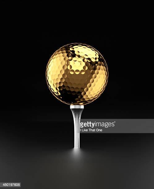 Golfball and alluminium golf tee