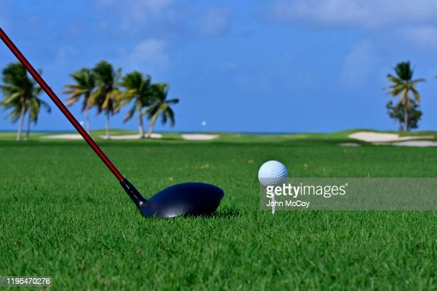 Golfball and driver on the12th tee at the Coco Beach Championship course on December 18, 2019 in Rio Grande, Puerto Rico.