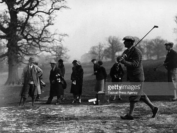 Golfer Abe Mitchell drives a golf ball in the Mixed Foursomes Tournament in Hertfordshire Original Publication People Disc HH0167