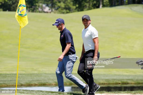 Golfer Adam Scott and Jason Day walk to the 9th green during the Memorial Tournament - Second Round on June 02, 2017 at Muirfield Village Golf Club...