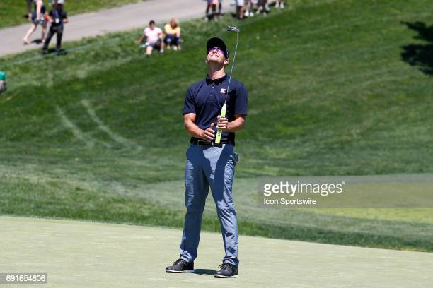Golfer Adam Scott reacts to missing a putt on the 9th green during the Memorial Tournament - Second Round on June 02, 2017 at Muirfield Village Golf...