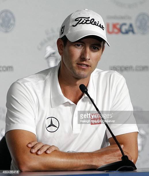Golfer Adam Scott talks to the media during a US Open news conference at Pinehurst No 2 Wednesday June 11 in Pinehurst NC