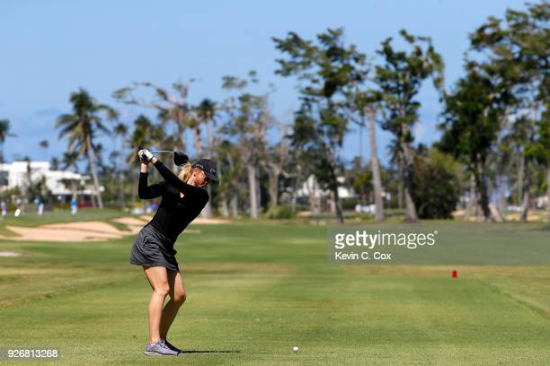 TOUR golfer Amanda Blumenherst plays a tee shot on the 16th hole during the second day of the Puerto Rico Open Charity ProAm at TPC Dorado Beach on...
