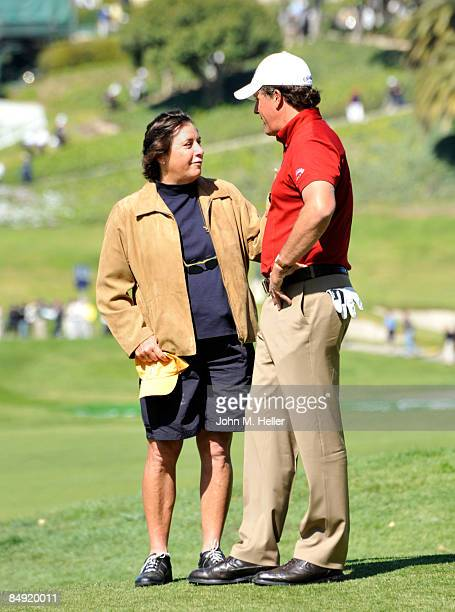 WPGA golfer Amy Alcott and PGA golfer Phil Mickelson chat during the Northern Trust ProAm at Riviera Country Club on February 18 2009 in Pacific...