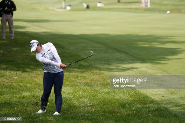 LPGA golfer Amy Yang hits a shot out of the rough on the 5th hole during the final round of the Indy Women In Tech on August 19 2018 at the Brickyard...
