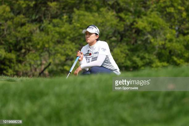 LPGA golfer Amy Yang lines up a putt on the 5th hole during the final round of the Indy Women In Tech on August 19 2018 at the Brickyard Crossing...
