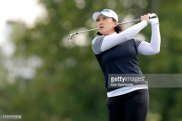 LPGA golfer Amy Yang watches her tee shot during the third round of the Indy Women In Tech on September 28 at the Brickyard Crossing Golf Club in...