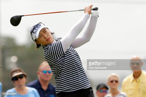 LPGA golfer Amy Yang watches her tee shot off the first hole during the third round of the Indy Women In Tech on August 18 2018 at the Brickyard...