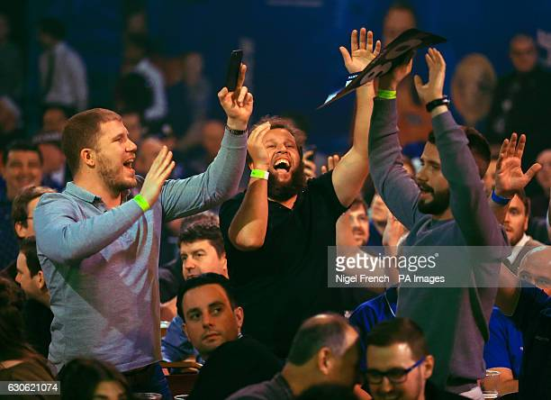 Golfer Andrew 'Beef' Johnston enjoying the action during day eleven of the William Hill World Darts Championship at Alexandra Palace London