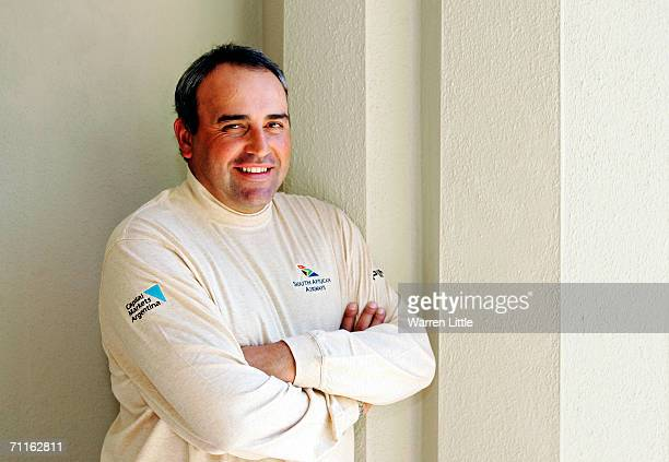 Golfer Angel Cabrera of Argentina poses while relaxing during the First Round of the BMW Championship at The Wentworth Club on May 25, 2006 in...