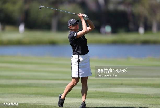 Golfer Annika Sorenstam hits from the third hole during the final round of the American Century Championship at Edgewood Tahoe South golf course on...