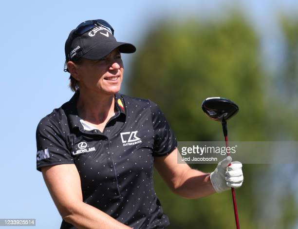 Golfer Annika Sorenstam tees off from the first hole during the final round of the American Century Championship at Edgewood Tahoe South golf course...
