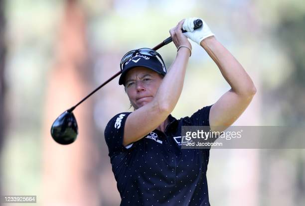 Golfer Annika Sorenstam tees off from the second hole during the final round of the American Century Championship at Edgewood Tahoe South golf course...