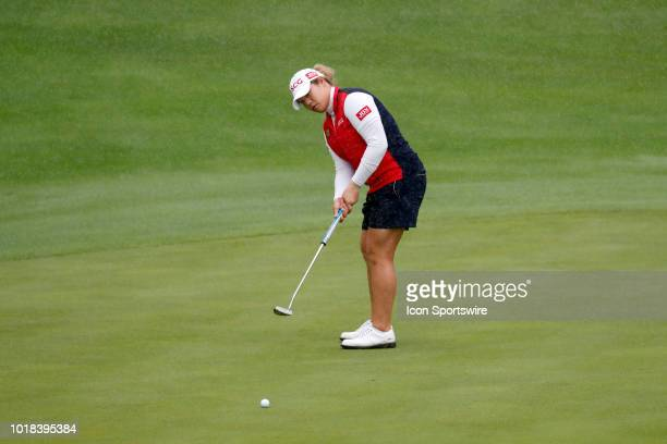 LPGA golfer Ariya Jutanugarn putts on the 18th hole during the second round of the Indy Women In Tech on August 17 2018 at the Brickyard Crossing...