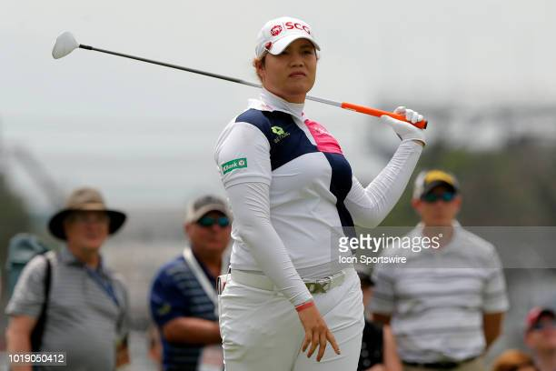 LPGA golfer Ariya Jutanugarn watches her tee shot on the first hole during the third round of the Indy Women In Tech on August 18 2018 at the...