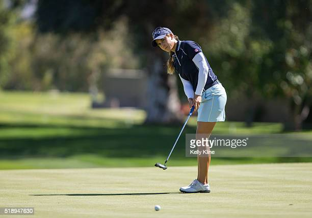 LPGA golfer Azahara Munoz putts on the 7th hole during the ANA Inspiration at Mission Hills Country Club on March 31 2016 in Rancho Mirage California