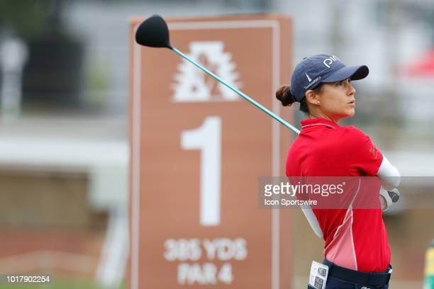 LPGA golfer Azahara Munoz tees off on the first hole during the first round of the Indy Women In Tech on August 16 2018 at the Brickyard Crossing...