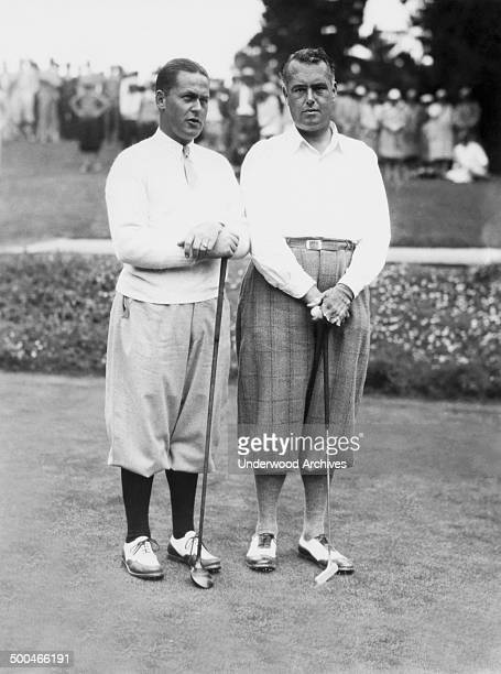Golfer Bobby Jones at the Pebble Beach Golf Course along with noted British amateur Cyril Tolley Pebble Beach California 1929