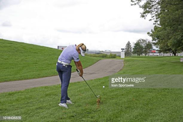 LPGA golfer Brooke Henderson hits a shot out of the rough on the 16th hole during the second round of the Indy Women In Tech on August 17 2018 at the...