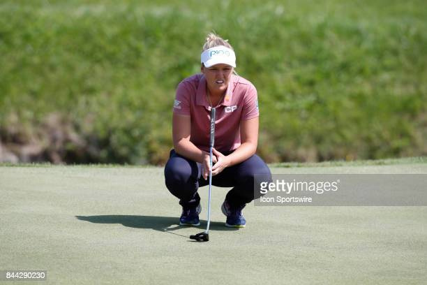 LPGA golfer Brooke Henderson lines up a putt on the 12th hole during the second round of the Indy Women In Tech on September 8 2017 at the Brickyard...