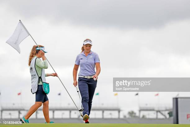 LPGA golfer Brooke Henderson putts on the 15th hole during the second round of the Indy Women In Tech on August 17 2018 at the Brickyard Crossing...