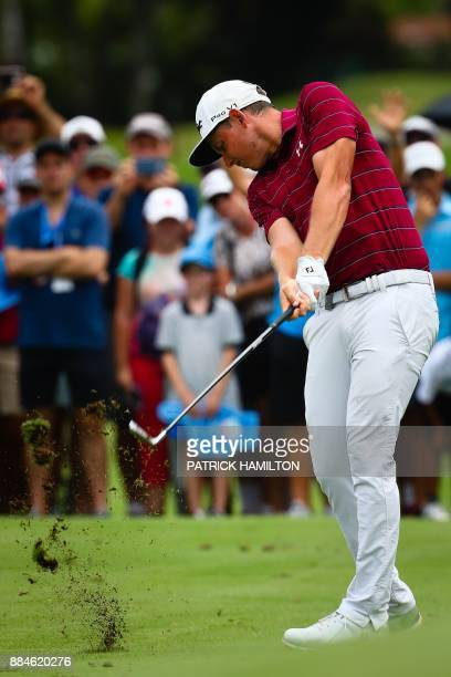 Golfer Cameron Smith of Australia hits a shot during the final round of the Australian PGA Championship golf tournament at the Royal Pines Resort on...