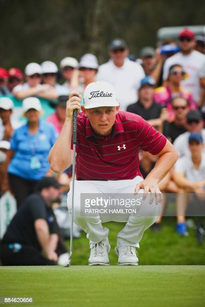 Golfer Cameron Smith of Australia lines up a putt during the final round of the Australian PGA Championship golf tournament at the Royal Pines Resort...
