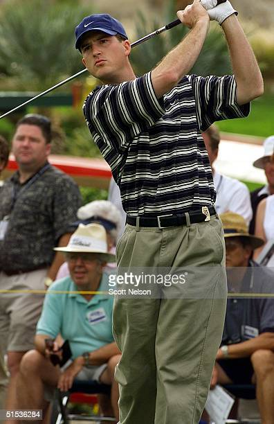 US golfer Casey Martin tees off for the first time as a PGA tour member at the Indian Wells Country Club in Indian Wells California 19 January 2000...
