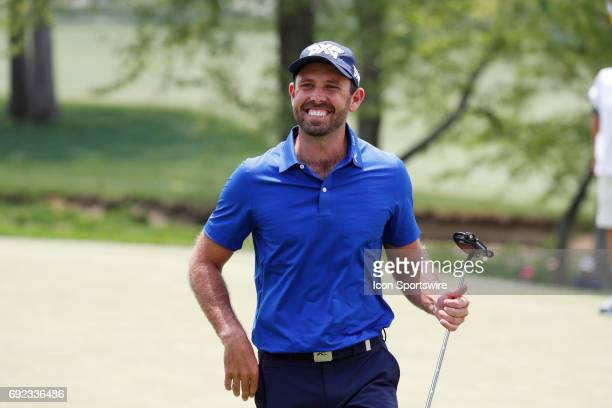 PGA golfer Charl Schwartzel smiles after making a long putt to save par on the 4th hole during the Memorial Tournament Final Round on June 04 2017 at...