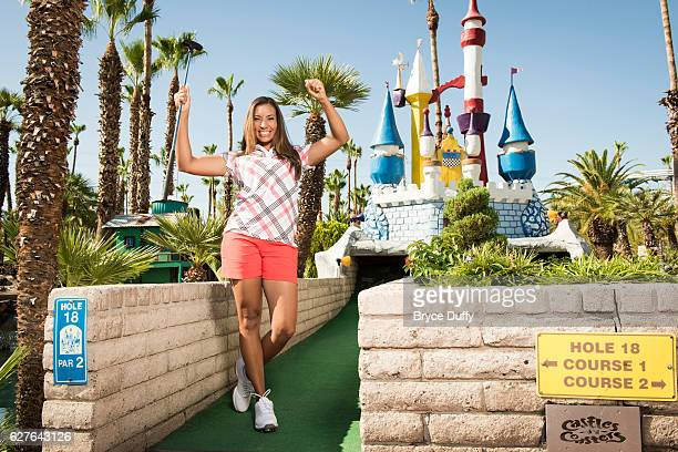 Golfer Cheyenne Woods is photographed for Golf Digest on June 25 2012 at Castles 'N Coasters in Phoenix Arizona PUBLISHED IMAGE