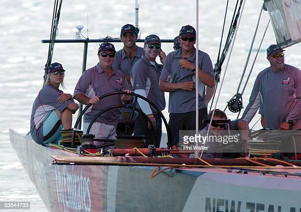 Golfer Craig Parry on board Emirates Team New Zealand's America's Cup yacht during a sail on Auckland Harbour New Zealand Tuesday February 8th 2005...