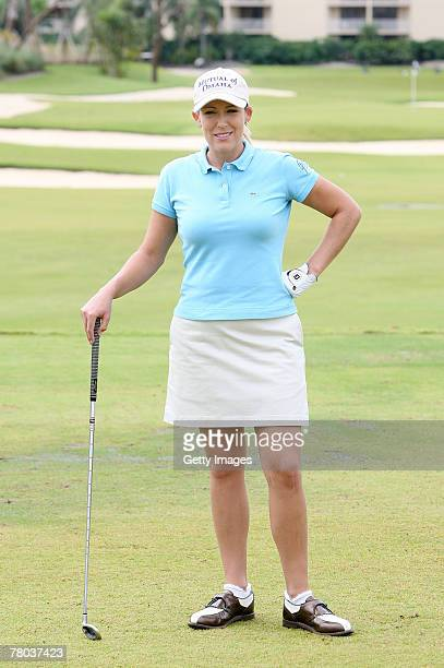 LPGA golfer Cristie Kerr speaks during a golf clinic during the Audemars Piguet golf outing at Turnberry Isle Golf Resort on November 19 2007 in...