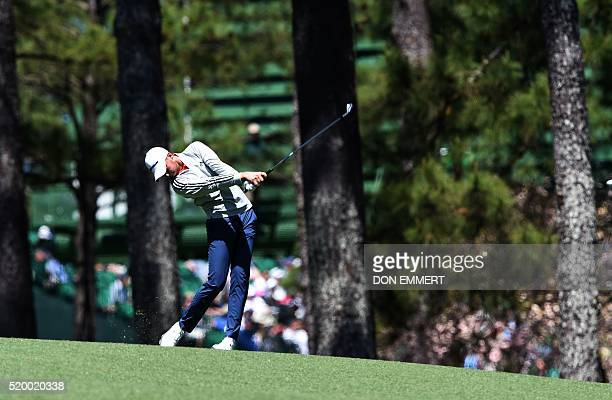 Golfer Daniel Berger a shot during Round 3 of the 80th Masters Golf Tournament at the Augusta National Golf Club on April 9 in Augusta, Georgia. /...