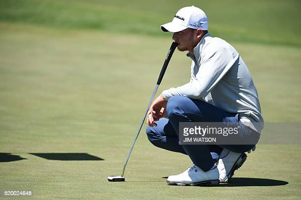 Golfer Daniel Berger lines up a shot on the 2nd green during Round 3 of the 80th Masters Golf Tournament at the Augusta National Golf Club on April 9...