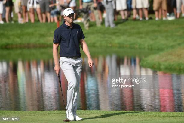 Golfer Daniel Berger makes his way down the fairway of the 18th hole during the final round of the John Deere Classic, July 16 at TPC Deere Run,...
