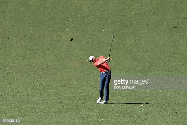 Golfer Daniel Berger plays a shot during Round 3 of the 80th Masters Golf Tournament at the Augusta National Golf Club on April 9 in Augusta,...