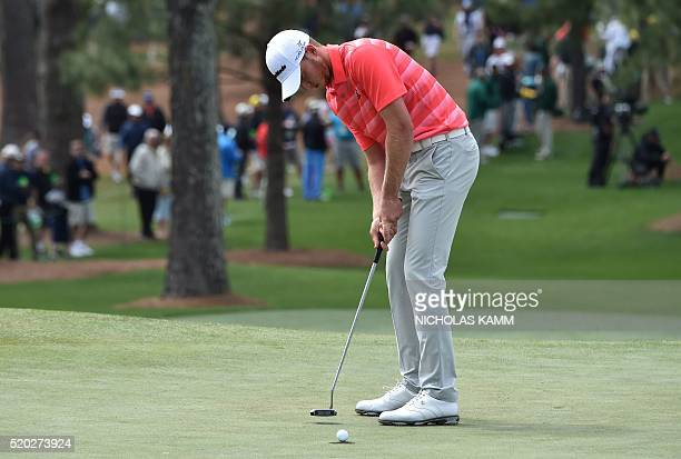 Golfer Daniel Berger putts on the 7th green during Round 4 of the 80th Masters Golf Tournament at the Augusta National Golf Club on April 10 in...