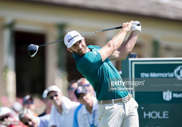 PGA golfer Dustin Johnson drives the ball during the Memorial Tournament Second Round on June 2 2017 at Muirfield Village Golf Club in Dublin Ohio